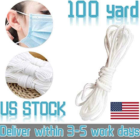 Elastic Ear Tie Cord String Round Stretchy Earloop Strap Sewing for DIY Craft Handmade Making Stretch Rope Band White 100 Yard