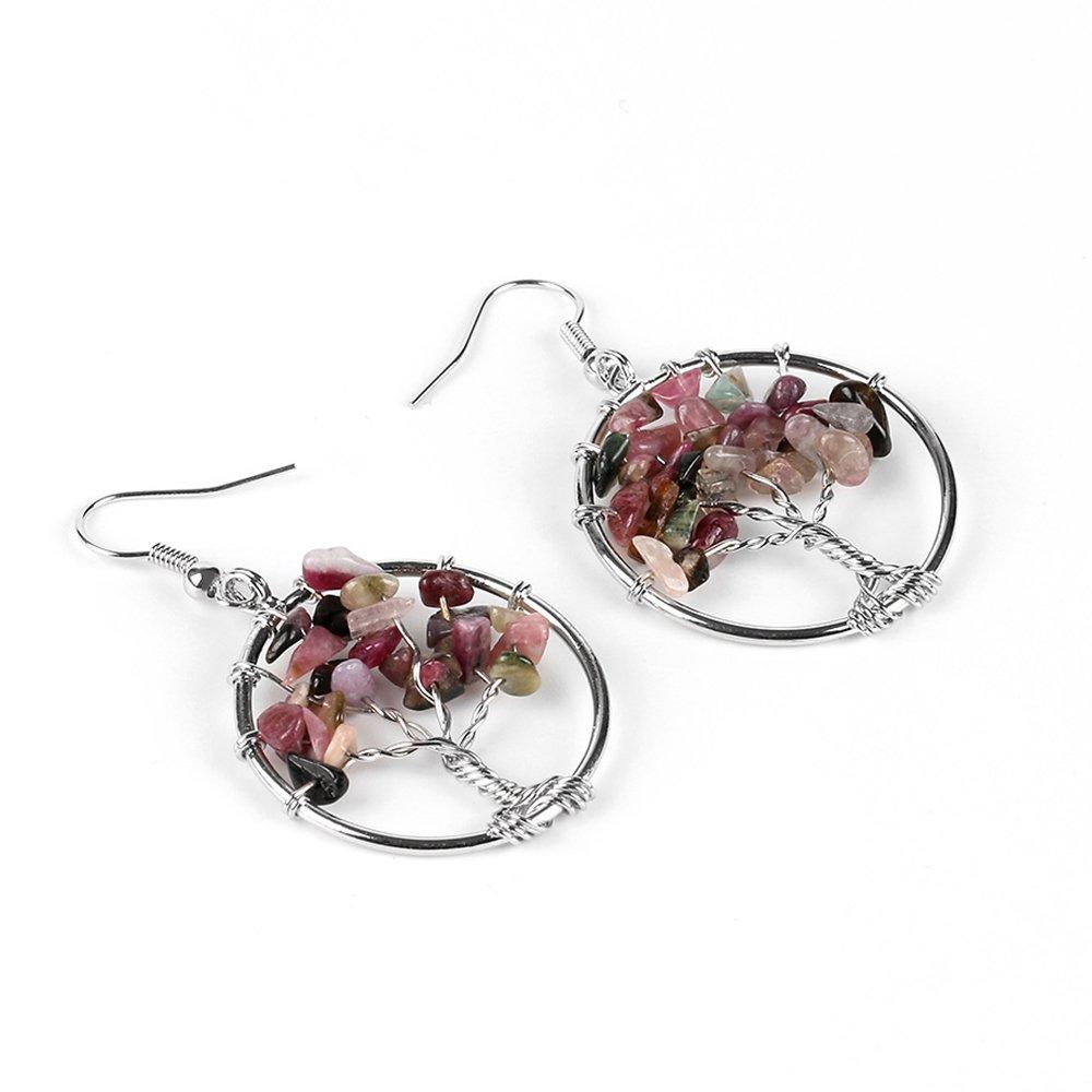 Stan-Deed Tree of life pendant Amethyst Rose Crystal Earring Gemstone Chakra Jewelry