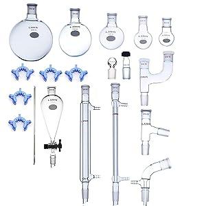 Laboy Glass Organic Chemistry Kit 19/22 Lab Glassware Set Distillation Apparatus 19pcs