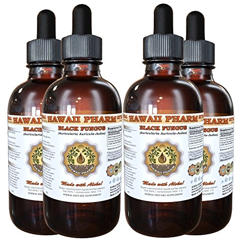 Black Fungus (Auricularia Auricula-Judae) Tincture, Dried Fungus Liquid Extract, Hei Mu Er, Herbal Supplement 4x4 oz by HawaiiPharm