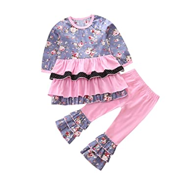 2d723852a KIDSA 1-5T Toddler Baby Little Girls Kids Clothes Long Sleeve Floral Ruffle  T-