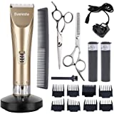 Everesta Rechargeable Cordless Hair Clippers for Men and Babies With 2 Rechargeable Batteries,8 Combs (Gold)