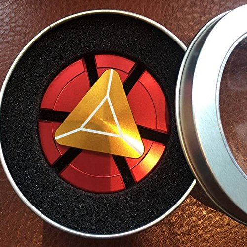 Superhero Iron Man (Fidget Spinner Iron Man, Super Hero Custom Round Shaped Hand Spinner with Ceramic Bearing, Metal and Durable. Stress Reducer Toy & Finger Gyro for ADHD, ADD, Anxiety (Marvels Avengers, Gold-Red))