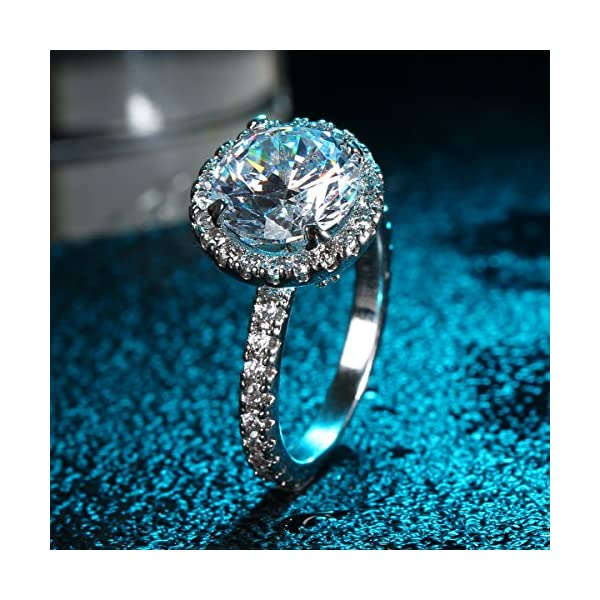 Jiangyue Lady Rings Halo Big Stone AAA Cubic Zirconia Rhodium Plated Party Solitaire Jewelry Mother 's Day Gift Size 5-10