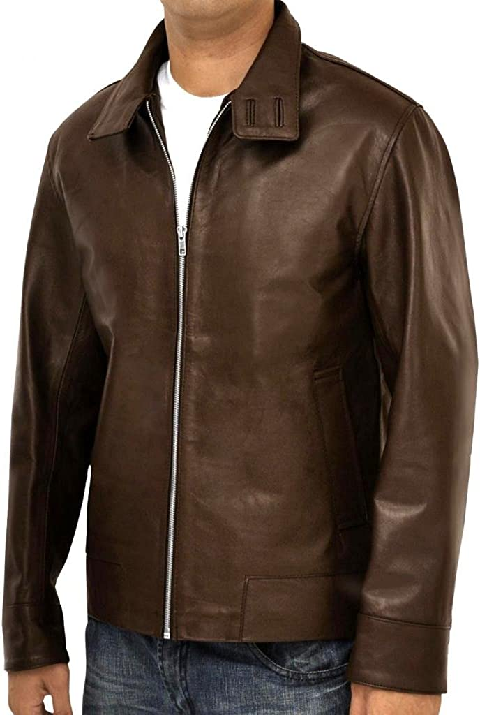 DashX XMen First Class Magneto Brown Leather Jacket,X-Large