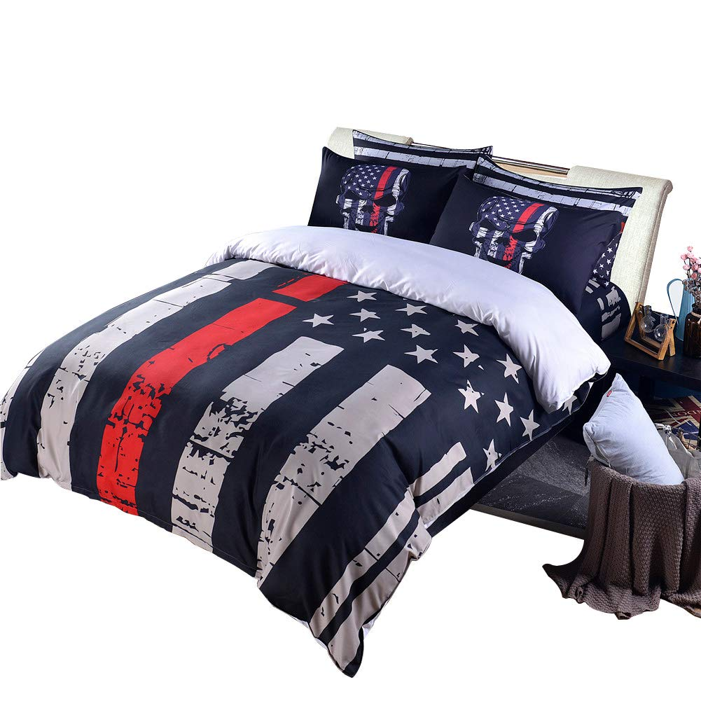 Rhap Quilts Cover Queen Size, American Flag Duvet Cover Set, 3pcs Bedspreads Queen Size Set, Red Black Valor Patriot Theme Digital Printed Quilt Cover Matching 2 Skull Pillowcases