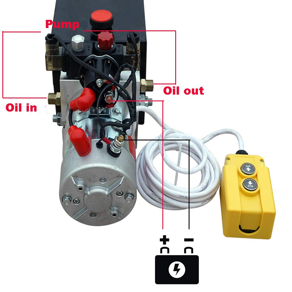 Electric Hydraulic Pump Unit  Metal Reservoir  for Dump Trailer (Double Acting 10 Quart) by Fisters (Image #2)