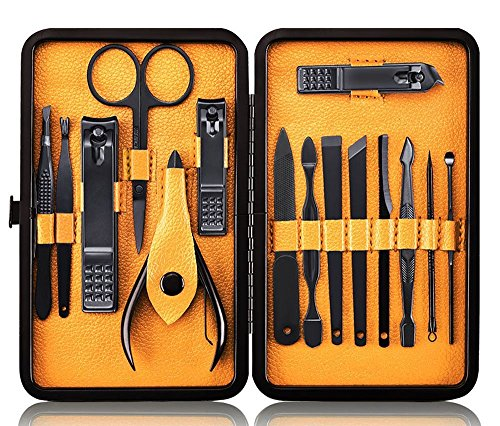 Professional Manicure Pedicure Set Nail Clipper -15 Piece Stainless Steel Heavy Duty Nail Care Aids -Fingernail Clippers,Toenail Clippers -Portable Travel & Grooming Kit Tools -Deluxe (Black&Yellow) (Pedicure Set Tools Toe)