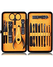 Manicureset Nagelset Nagelknipper Kit Professioneel - Roestvrijstalen pedicureset Nagelverzorgingsset van 15 stuks met koffer voor reizen (zwart/geel)
