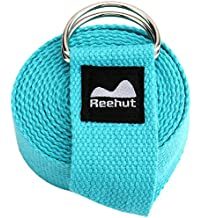 REEHUT Yoga Strap (6ft, 8ft, 10ft) with Ebook - Durable Cotton Exercise Straps w/Adjustable D-Ring Buckle for Stretching, General Fitness, Flexibility and Physical Therapy