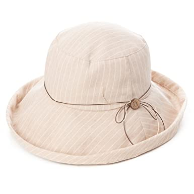 379c32476527d Siggi Womens SPF50+ Summer Sunhat Cotton Bucket Packable Crushable Foldable  Wide Brim Hats w  Chin Cord Beige  Amazon.co.uk  Clothing