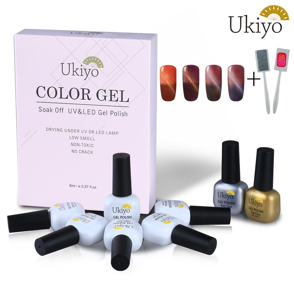 Ukiyo 6PCS Soak Off kit smalto semipermanente L'occhio del gatto magnete 8ml Variazione di temperatura di colore UV LED Smalto semipermanente unghie in Gel gel polish Nail Art set