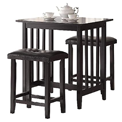 e592819976d Pub Table Set 3 Black Wooden Kitchen Island Breakfast Dining Counter Height  Table Stools with Cushions
