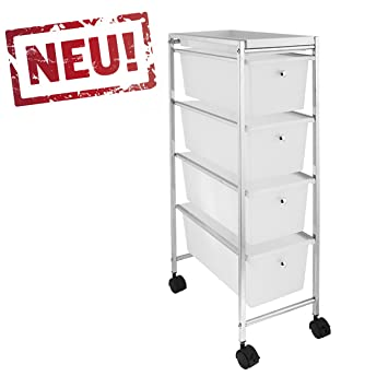 Rollbares Badregal Küchenregal Badtrolley Rollwagen Schubladenwagen  Rollcontainer Aus Metall Chrom   Mit 4 Schubkästen Schubladen Aus