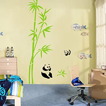 Asian Bamboo Wall Decal Vinyl Bamboo Wall Sticker Panda Wall Decal Nursery  Wall Decor Wall Graphic