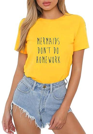 HappyGo Moda Camisas Mujer Verano Carta Impresión Manga Corta Cuello Redondo Camisetas Algodón T Shirt Blusas Casual Color Solido Tops Tees: Amazon.es: Ropa ...