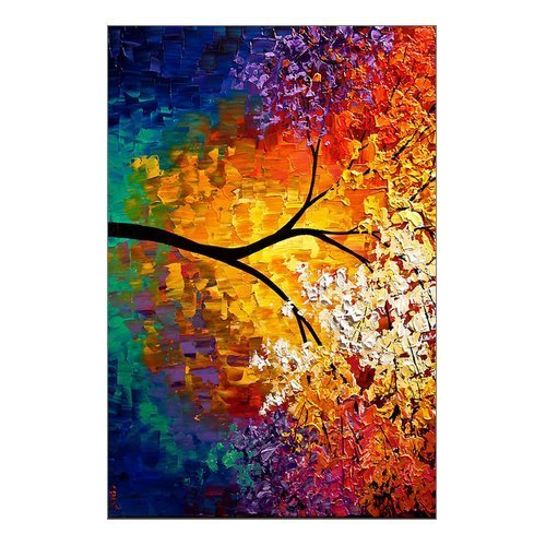 Beautiful Modern Art Abstract Painting Colorful Tree of Life