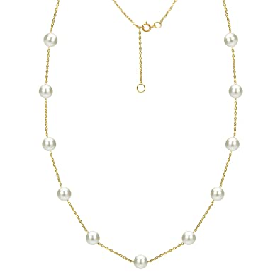 Tin Cup Station 14 K Gold Chain Necklace Cultured Freshwater White Pearl Jewelry For Women 18 Inch by La+Regis+Jewelry