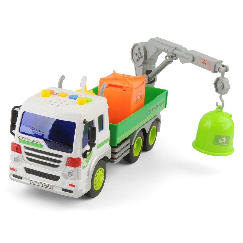E T Friction Powered Pull Back Vehicles Car Garbage Truck Toy 360°Crane with Lights and Sounds for Kids, Pull Back Construction Vehicles, 1:16 Scale