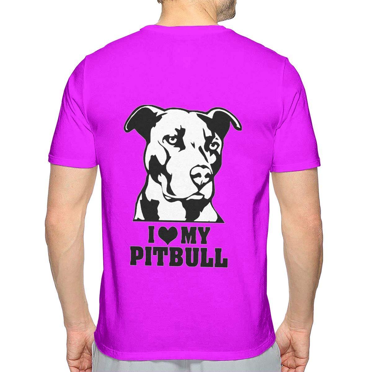 I Love My Pitbull Staffy Terrier Dog Mens Sport Short-Sleeved Tshirt