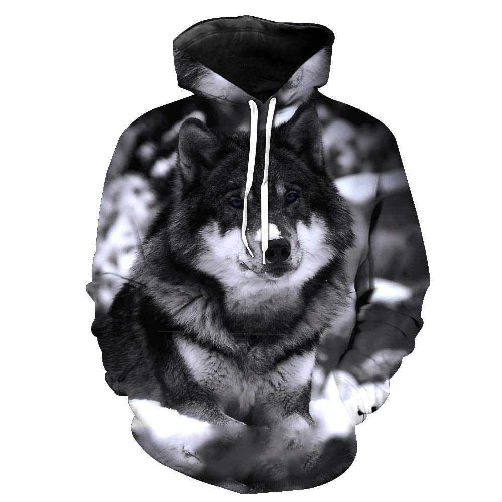 Usopu Mens//Womens 3D Wolf Print Hoodie