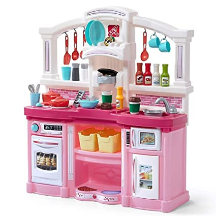 Step2 488399 Fun with Friends Kids Play Kitchen, Large, Pink (Deluxe Pack:  Includes Kitchen Accessory Pack)
