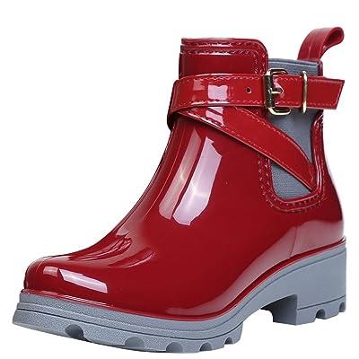 Agodor Womens Rain Boots Waterproof Buckle Platform Block Heel Slip On Ankle Boots Wellies