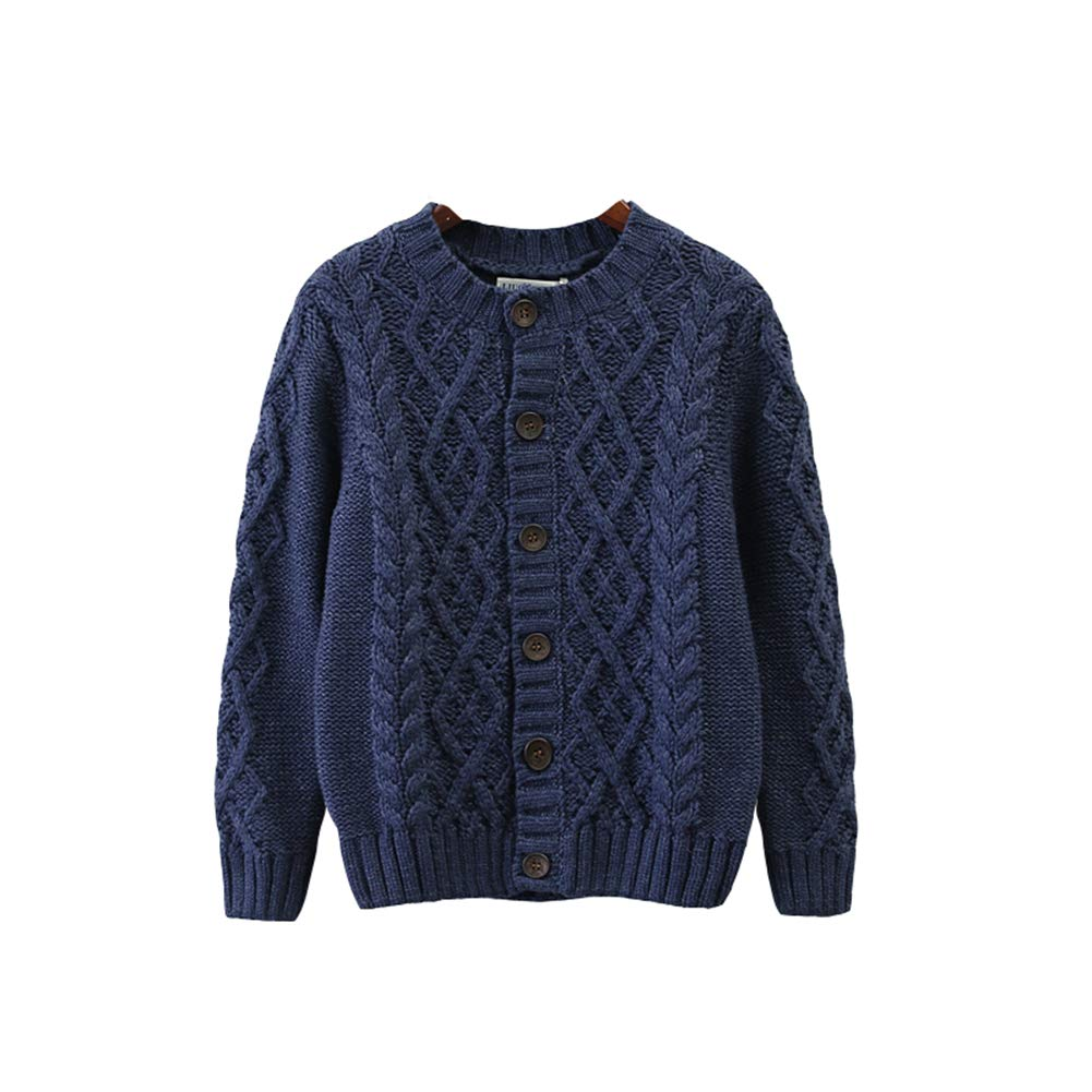 ALLAIBB Little Boys Sweater Cardigan Knit Outerwear Warm Classic Pattern Jacket Size 150 (Royal Blue)