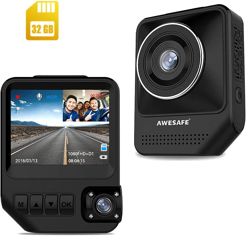 AWESAFE Dual Dash Cam for Cars Front and Inside Dash Cam with 1920X1080P 170 Degrees Wide Angle,Night Vision,Sony Sensor,Parking Monitor,Motion Detection for Uber,Taix Included 32GB Card
