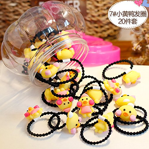 (20/40 root installed) children girl hair ring elastic rope ponytail holder hair accessories korea elastic rubber band hair rope tousheng ponytail holder girl headdress (# 7 small yellow duck paragrap -