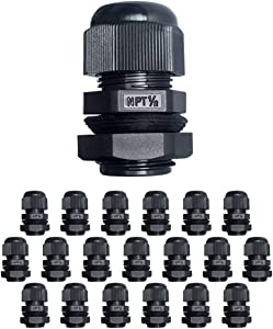 """MGI SpeedWare Strain Relief NPT Nylon Cord Grip Cable Glands - 20 Pack (1/2"""")"""