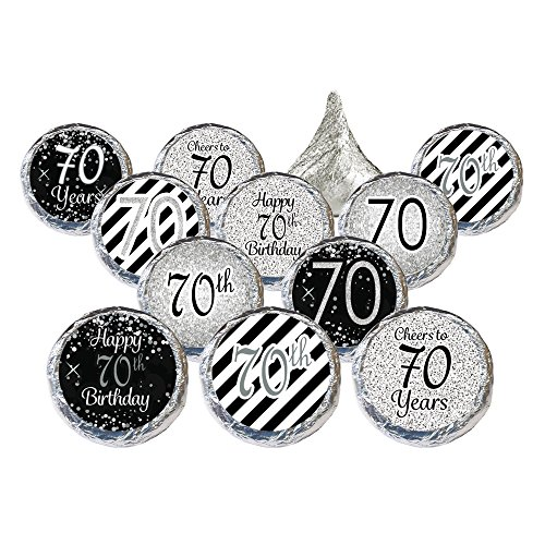 Black and Silver 70th Birthday Party Favor Stickers (324 (Favors For 70th Birthday)