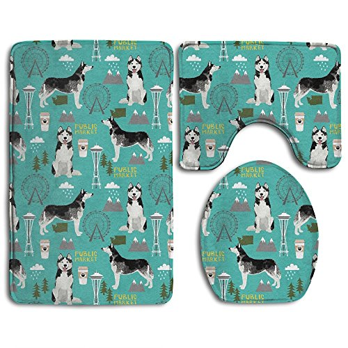 Husky Seattle Washington Dog 3 Piece Bath Rug Set Pattern Bathroom Rug Bath Mat+Coutour Mat+Toilet Cove