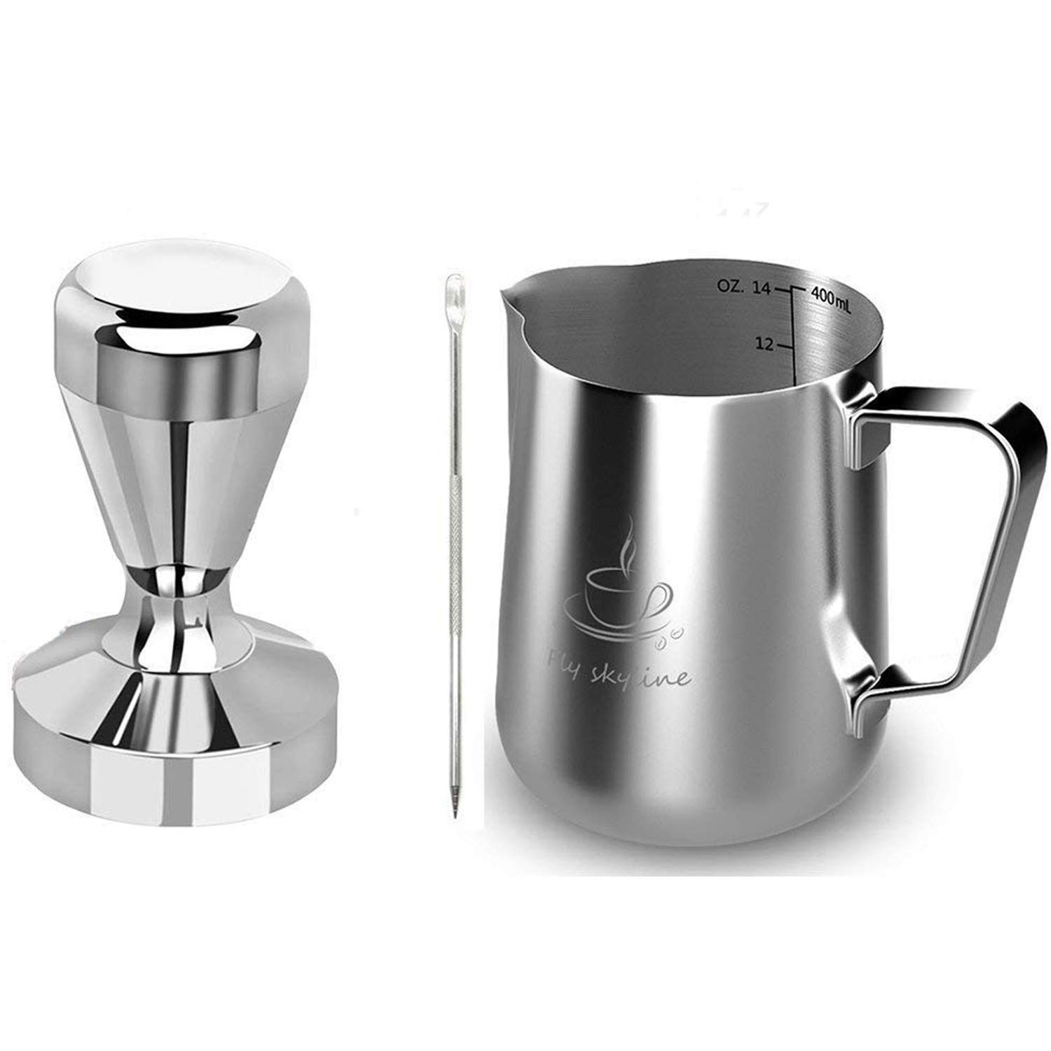Milk Frothing Pitcher Stainless Steel Measurement Inside the frothing Cup with Latt Art Pen (14oz+58Tamper)
