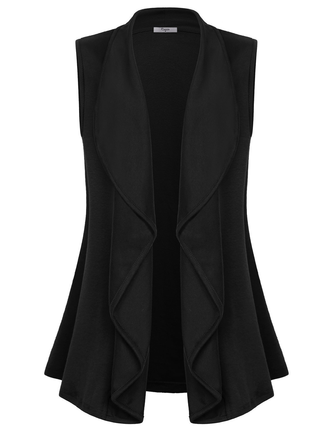 Cestyle Black Vest Women Ladies Sleeveless Cardigan Sweaters Fold Over Collar Dressy Coverup Cardigans for Work Black X-Large