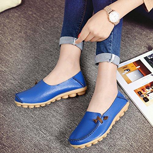 Fereshte Mocasines De Cuero Genuino Para Mujer Moda Casual Slip-on Zapatos Planos Con Suela Suave Para Conducir Compras Lago Azul