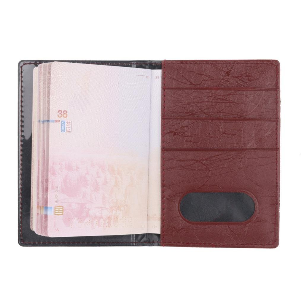 Brown, 9.8cm 0.3cm W 14.2cm Lanhui Unisex Solid Color Card Position Passport Package Certificate Bag Men H L