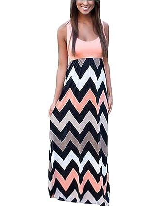 a6ba363d0c AIYUE (TM) Women Sleeveless Chiffon Contrast Color Low Cut Tank Evening Long  Maxi Dress: Amazon.co.uk: Clothing