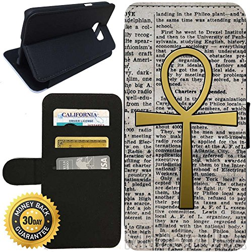 Flip Wallet Case for Galaxy S7 (Egypt Egyptian Ankh) with Adjustable Stand and 3 Card Holders | Shock Protection | Lightweight | Includes Stylus Pen by - G Stores Egypt