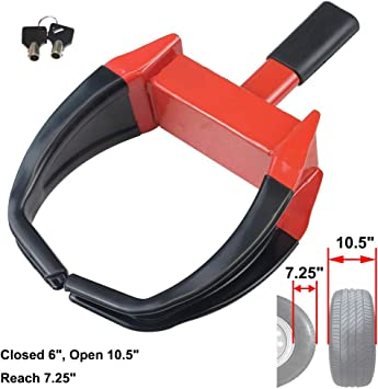 Oklead Security Wheel Clamp Lock Anti Theft Tire Lock Claw Boot for Trailers Boats AtvS Motorcycles Campers Red//Black 3 Keys