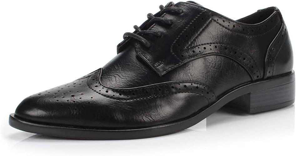 Womens ladies faux leather casual smart brogue lace up flat low heel shoes size