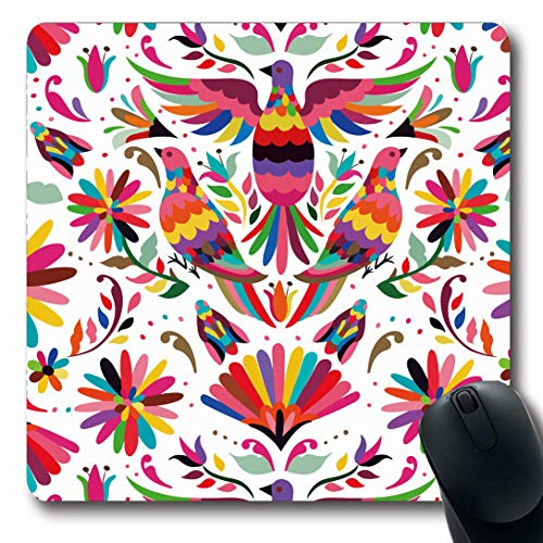 Ahawoso Mousepads for Computers Oaxaca Otomi Mexican Pattern Abstract Nature Petals Flowers Mexico Birds Colors Design Insects Oblong Shape 7.9 x 9.5 Inches Non-Slip Oblong Gaming Mouse ()