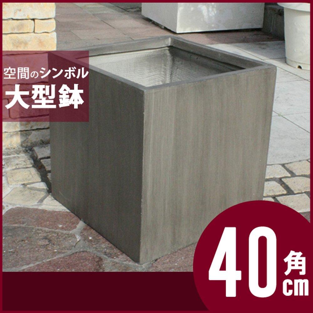 樹脂製植木鉢 キューブ ポット Lサイズ (グレー) B01MQVI46B  グレー