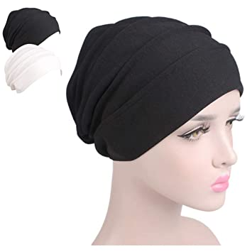 0afb0058c7f Buy Night Chemo Hat Sleeping Cap - Black White 2 Packs Slouchy Slouchie Lightweight  Light Thin Jersey Sleep Beanie Turban Bonnet Cancer Patient For Summer ...