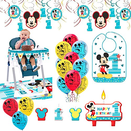 Mickey Mouse First Birthday Fun To Be One 1st Birthday Party Supplies Decoration Pack Includes: Hanging Swirl Decorations, Baby Bib, Birthday Candles, Balloons, and a High Chair Decoration (1st Bib)