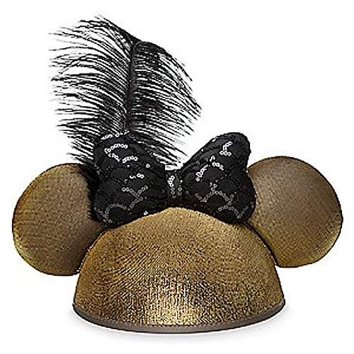 Disney Minnie Mouse Deluxe Ears Hat Golden with Sequined Bow & Feather - Walt Disney World Ears