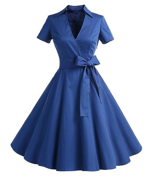Timormode Mujer A-Línea Manga Corta Retro 1950s Vintage Prom Vestidos 10084 Azul S