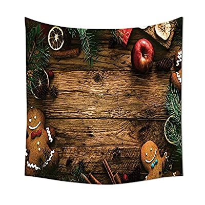 Christmas Decorations Collection Gingerbread Man Gift Box Image Pine Cinnamon Dessert on Rustic Wood Xmas Themed Bedroom Living Room Dorm Wall Tapestries Brown Green