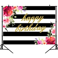 CapiSco 7X5FT Birthday and Fabulous Backdrop Flower White and Black Stripes 30th 40th 50th 60th Birthday Photography Background Vinyl Women Happy Birthday Party Backdrops Cake Decor Banner SCO114B