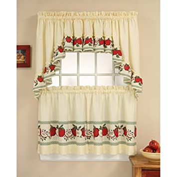 Amazon.com: CHF Industries Red Delicious Kitchen Curtain Set: Home ...